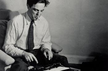 Alan Lomax at the typewriter, circa 1942